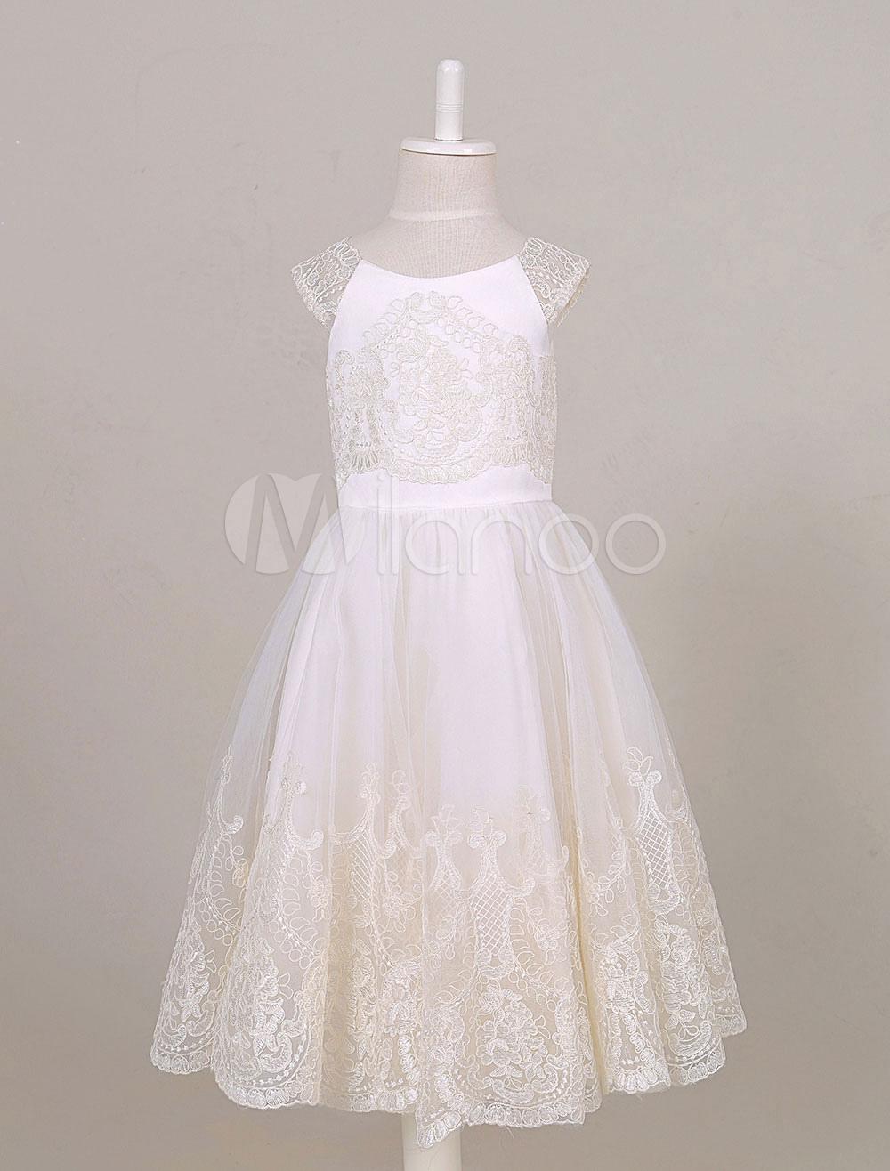 Flower Girl Dress Lace Applique Princess A-line Tea-length Toddler's Pageant Dress