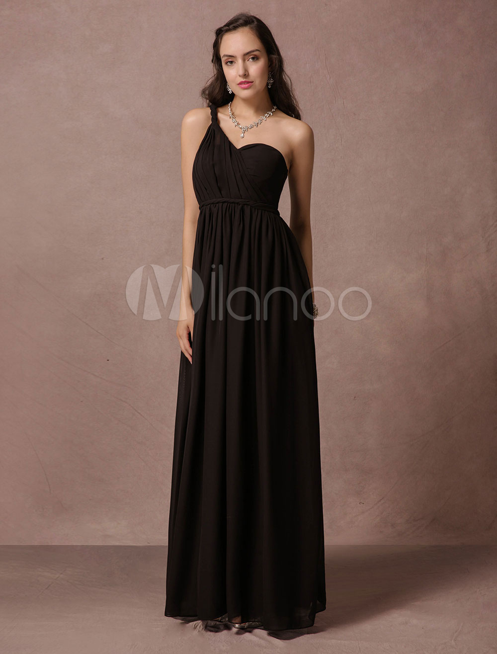Buy Black Bridesmaid Dress Maxi Chiffon Evening Dress A Line One Shoulder Backless Floor Length Party Dress for $112.49 in Milanoo store