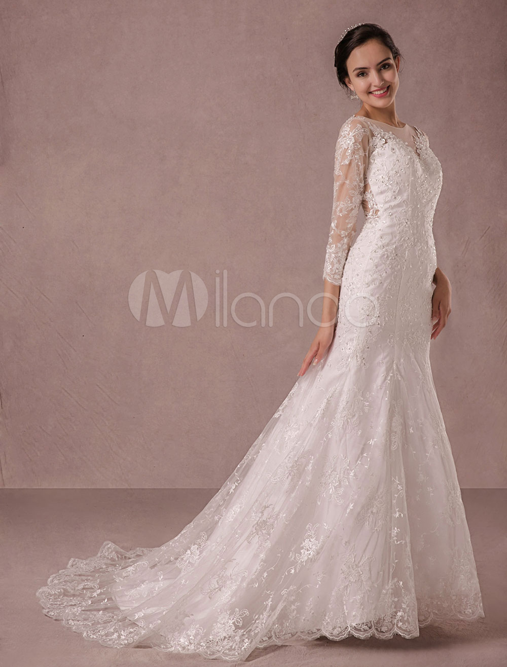 fd08dc9b4a7e Mermaid Wedding Dress Long Sleeves Lace Illusion Back Applique Beading  Court Train Bridal Gown Milanoo - Milanoo.com