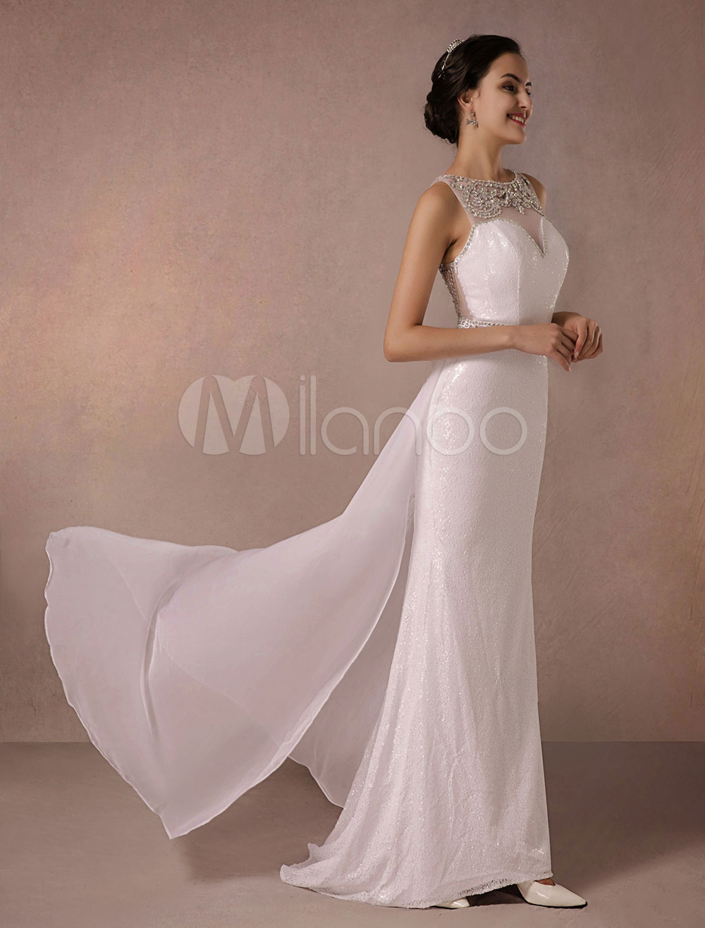 Sequin Evening Dress Beading Back Details Illusion Sexy Sheath Party Dress With Chiffon Court Train