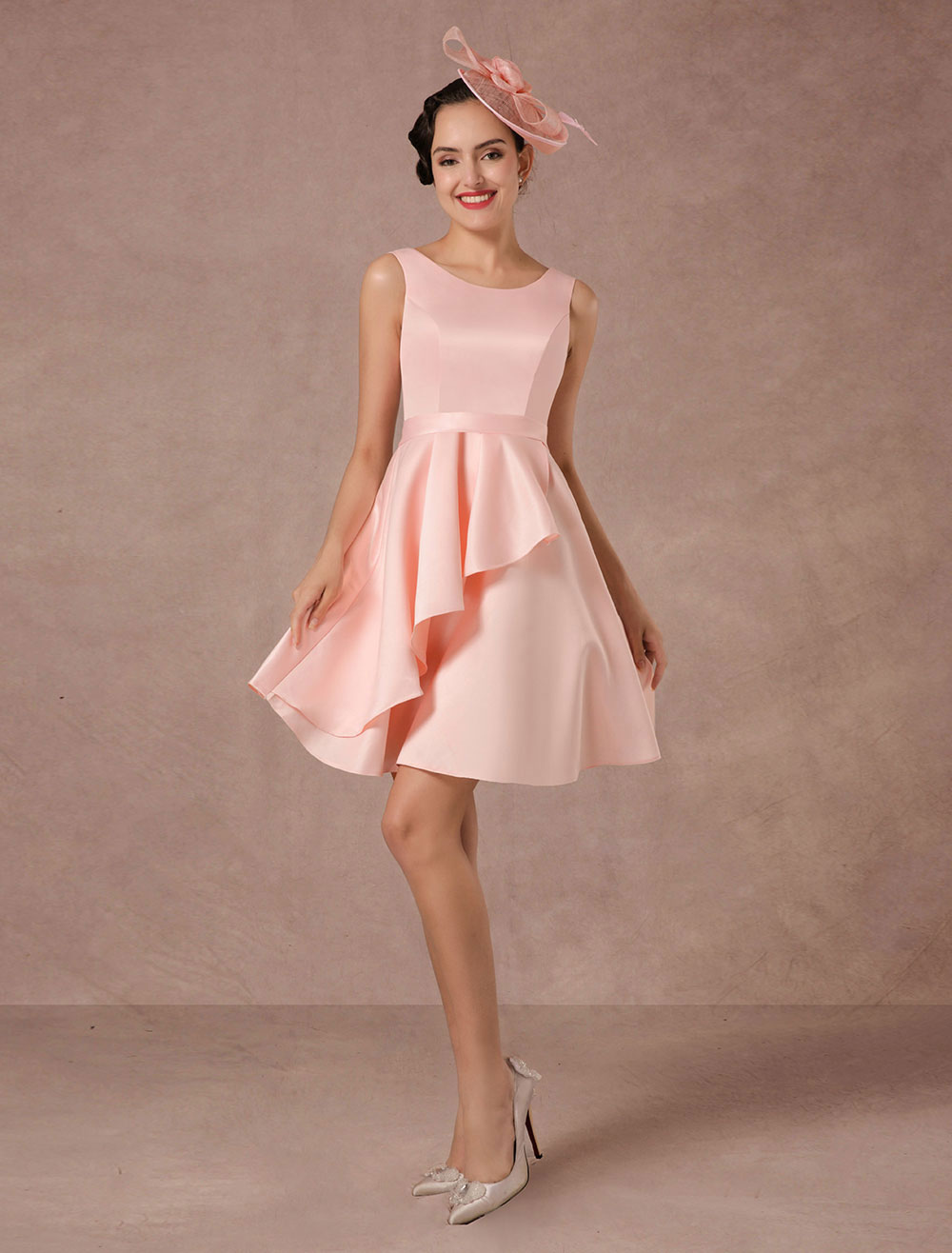 Vestido de boda de color rosa corto de la vendimia Vestidos de boda ...