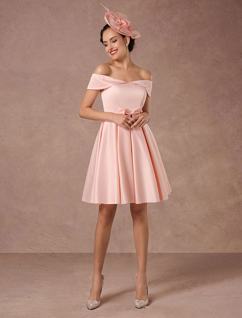Short wedding dress pink off the shoulder satin vintage for Wedding dresses to buy off the rack