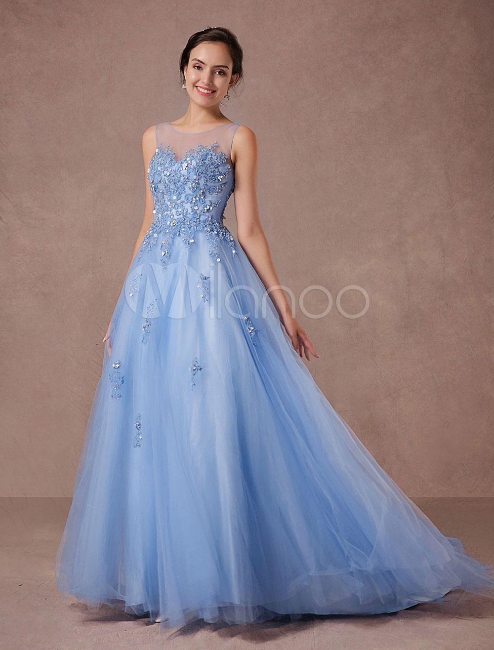 Blaue Spitze Hochzeitskleid Tüll Brautkleid Illusion Ausschnitt ...