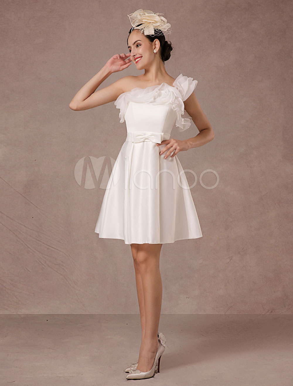 One Shoulder Short Wedding Dress