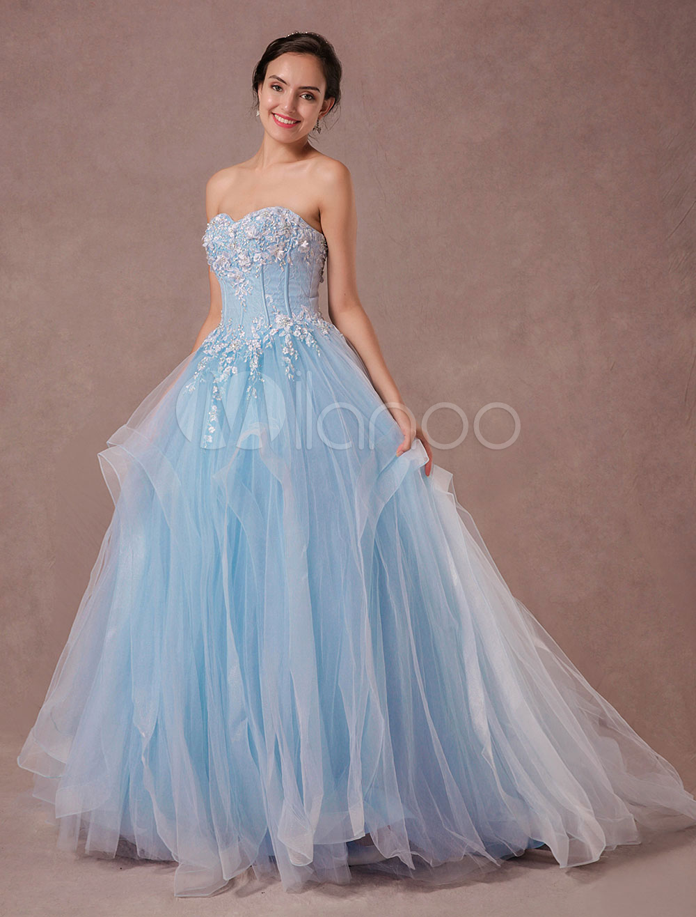 d60e32a8d934f ... Lace Beading Tulle Bridal Gown Chapel Train Sweetheart Strapless  Quinceanera Dress Luxury Backless. 12. 45%OFF. Color Baby blue