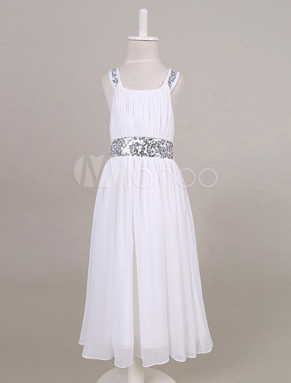 Chiffon Flower Girl Dress Sequin Back Criss-cross Tea-length Toddler's Dinner Dress