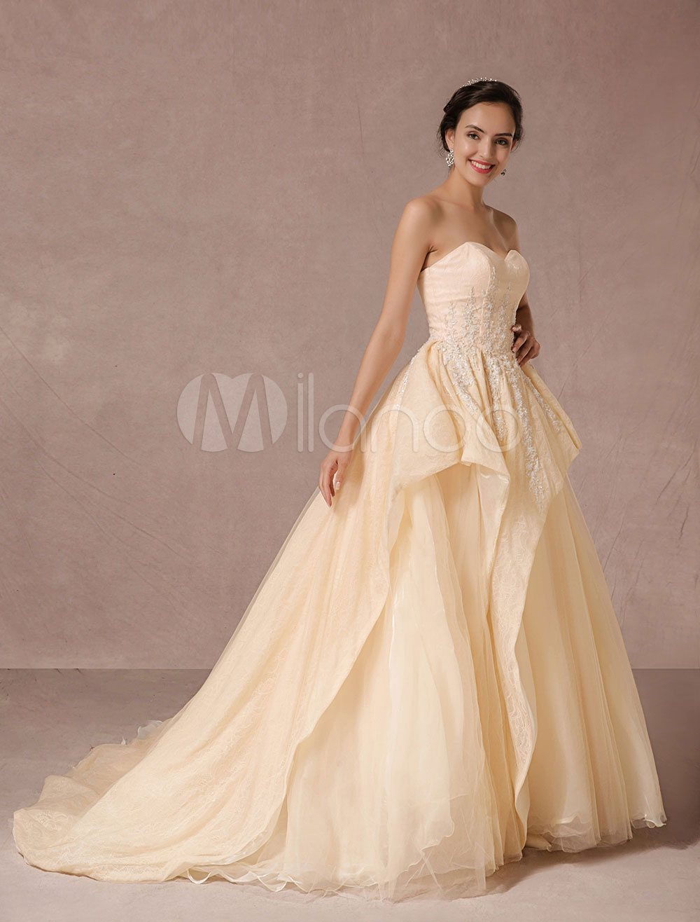 Champagne Wedding Dress Lace Beading Chapel Train Strapless Tulle Bridal Gown Lace-up Luxury Pricess Pageant Dress
