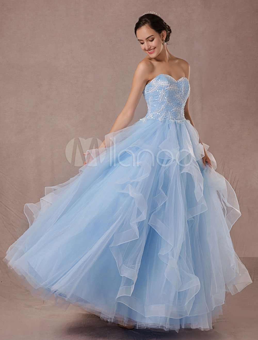 Buy Blue Wedding Dress Tulle Ball Gown Lace Applique Strapless Beading Princess Bridal Gown Backless Floor-length Pageant Dress for $289.79 in Milanoo store
