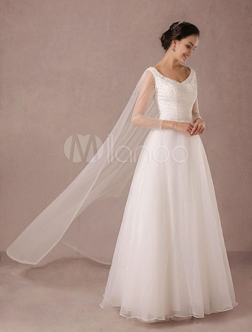 Tüll Hochzeitskleid Langarm Perlen Perlen bodenlangen a-Linie ...