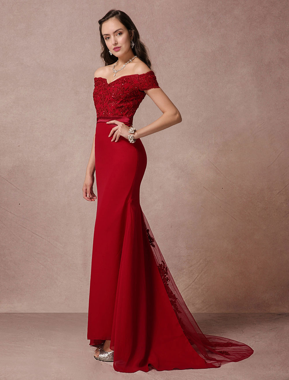 Red Prom Dresses 2018 Long Off The Shoulder Prom Dress Mermaid Backless Evening Dress  fishtail Lace Beading Court Train Red Carpet Dress