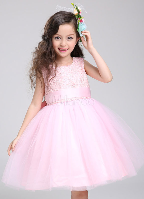 Buy Flower Girl Dress Lace Princess Tutu Dress Tulle Knee Length Pink Toddler's Pageant Dress for $66.59 in Milanoo store