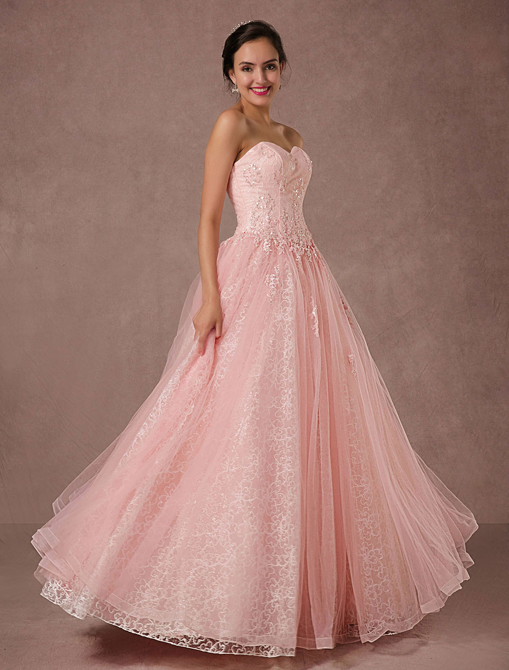 Buy Pink Lace Wedding Dress Tulle Strapless Bridal Gown Floor-length A-line Beading Prom Dress Backless Luxury Pageant Dress for $281.69 in Milanoo store