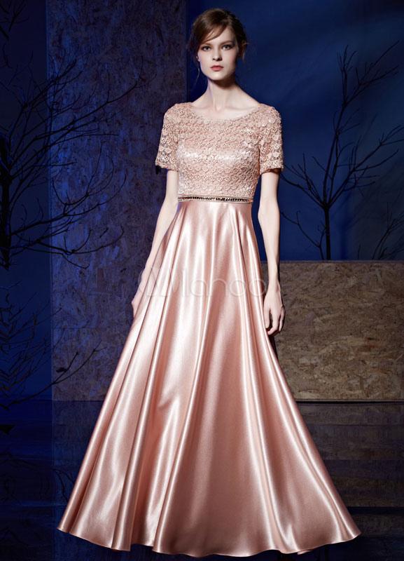 bd9b61c7c7f Кружева вечернее платье короткими рукавами атласа длиной до пола онлайн  мать невесты платье-No.