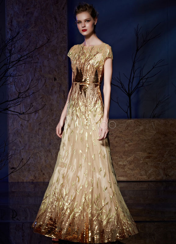 Sequin Evening Dress Embroideries Floor-length Mother Of The Bride Dress