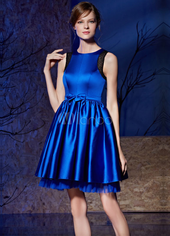 Milanoo / Short Prom Dress Satin Tulle Bow Sleeveless Homecoming Dress