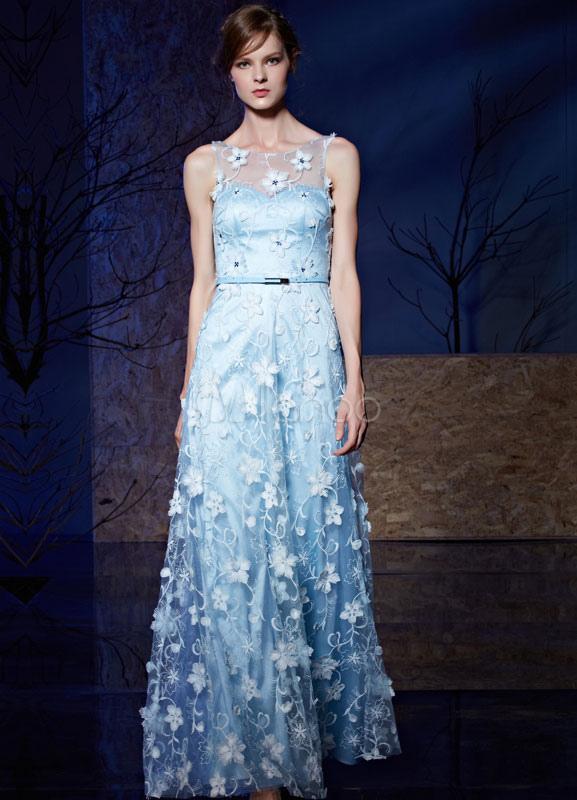 Blue Evening Dress Lace 3D Flower Applique Tulle Floor-length Party Dress With Belt