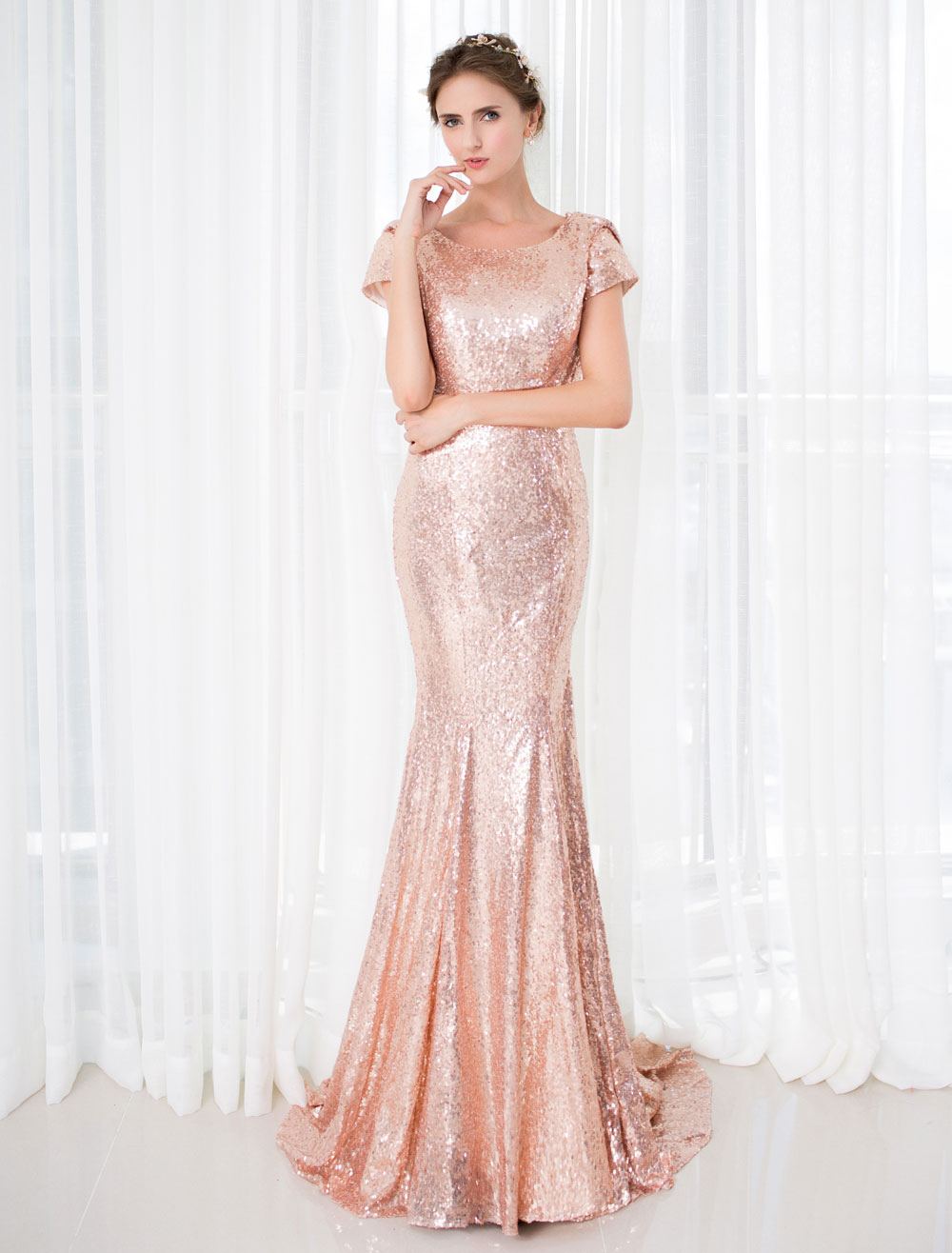 Rose Gold Prom Dresses 2018 Long Nude Mermaid Backless Evening Dress Sequin Court Train Short Sleeve Red Carpet Dress