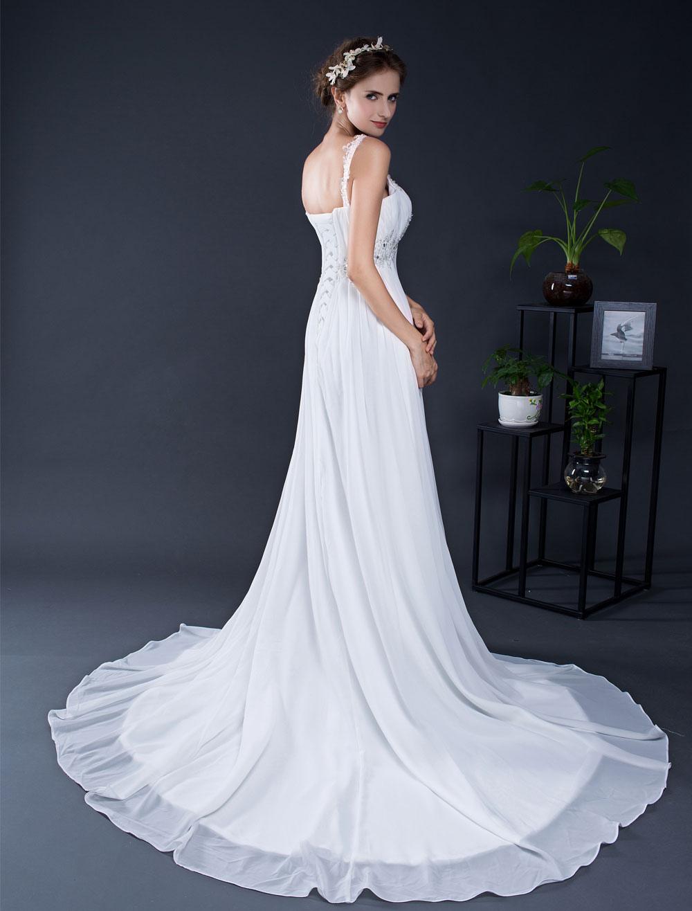 Chiffon Wedding Dress Lace Beading Strapls Court Train A-line Summer Wedding Dresses 2018