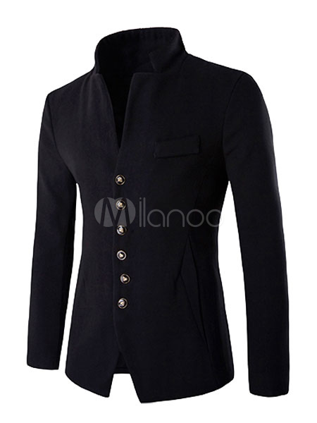 Black Blazer Jacket Stand Collar Long Sleeve Slim Fit Buttons Front Cotton Casual Blazer For Men