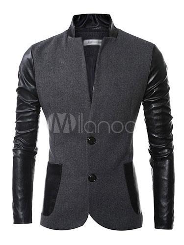 Men's Casual Blazer Two Tone Splicing High Collar Long Sleeve Button Front Shaping Cotton Blazer
