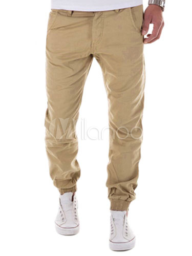 Buy Men's Jogger Pants Cotton Straight Elastic Waist Chino Pants for $23.74 in Milanoo store