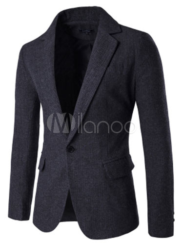 Men Blazer Jacket Notch Collar Long Sleeve Slim Fit Casual Blazer For Men