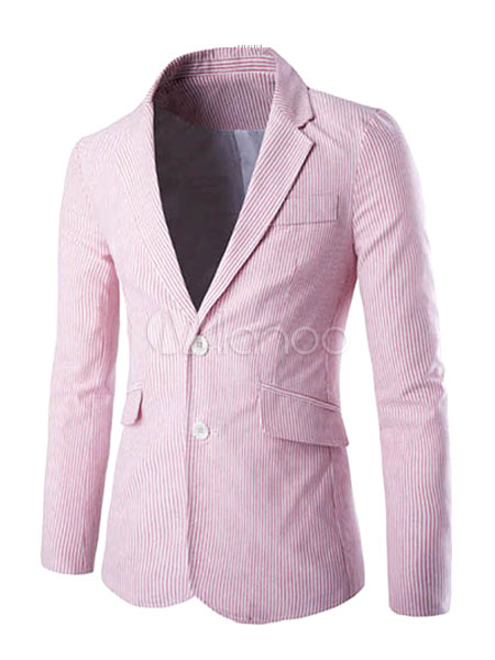 Buy Pink Suit Jacket Men's Lapel Collar Long Sleeve Pockets Blazer Jacket With Two Buttons for $37.79 in Milanoo store