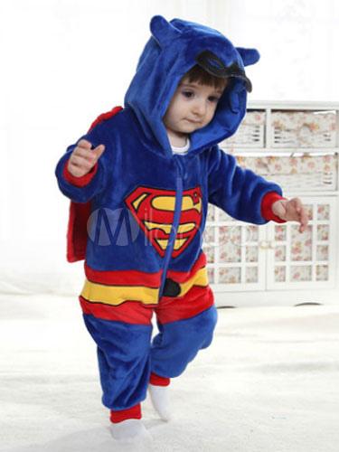 de5ab38e13 Kigurumi Pajamas Superman Onesie Flannel Boys Dark Blue Sleepwear Costumes  Halloween-No.1