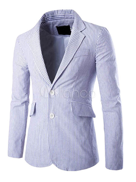 Buy Blazer For Men Lapel Collar Long Sleeve Pocket Two Button Stripe Blazer Jacket for $44.09 in Milanoo store