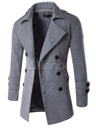 Men's Cotton Jacket Light Grey Long Sleeve Turndown Collar Slim Fit Jacket With Buttons