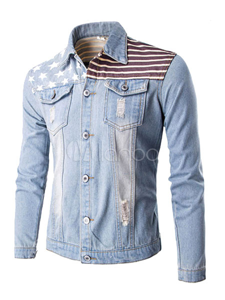 Buy Men's Denim Jacket Light Blue Stand Collar Long Sleeve Printed Casual Jacket for $31.34 in Milanoo store