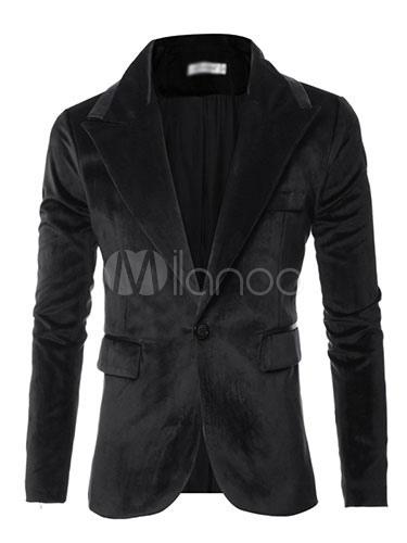 Black Casual Blazer Men's Long Sleeve Turndown Collar Slim Fit Cotton Blazer