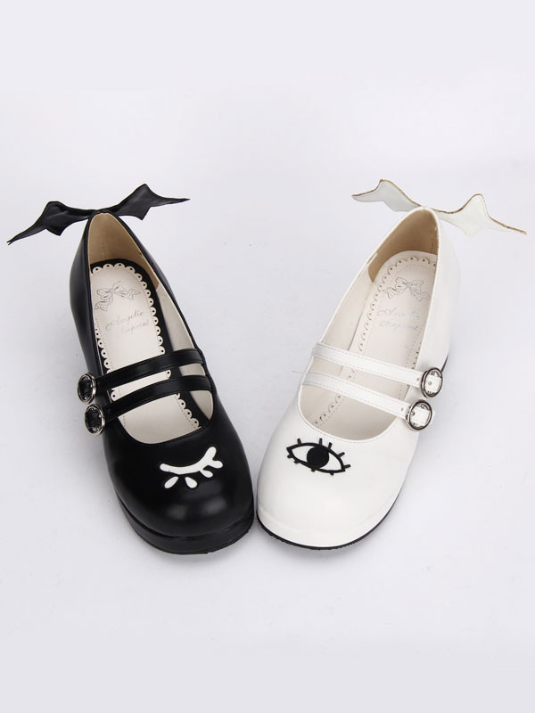 Gothic Lolita Shoes Double Strap Evil Wings Mary Jane Shoes