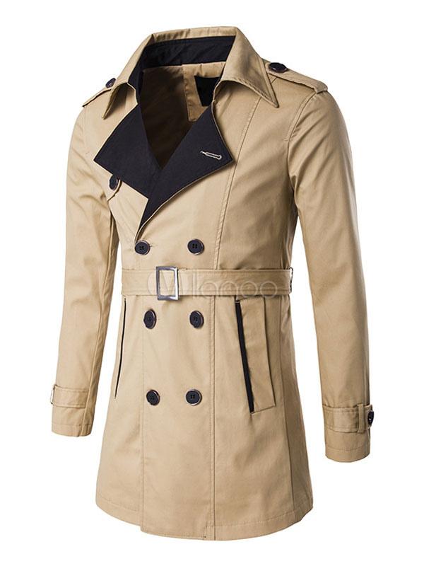 Trenchcoat Fit Winter Gürtel Breasted Den Khaki Herren Schultergurt Für Double Mantel NZ08wPXnOk