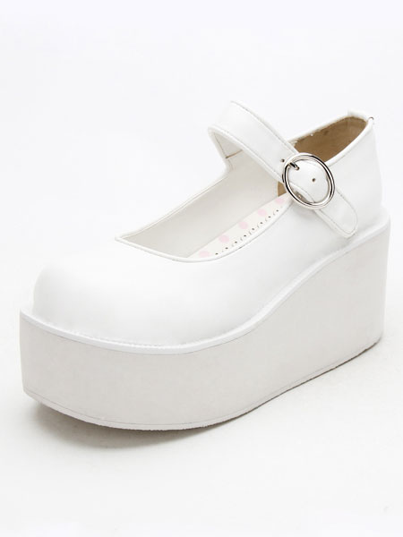 Buy Sweet Lolita Shoes White Platform Wedge Ankle Strap Lovely Lolita Shoes for $58.49 in Milanoo store