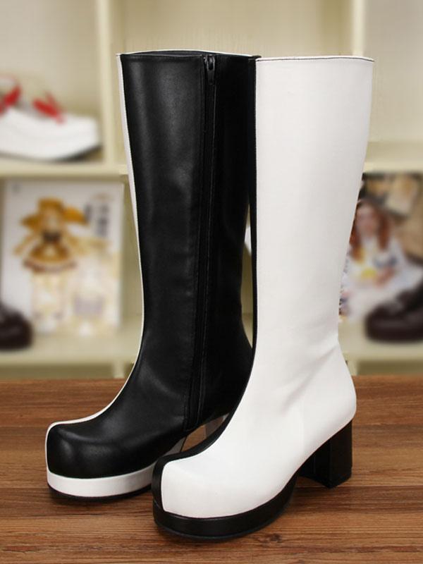 397e117ed3f Gothic Lolita Boots Black White Patchwork Two Tone Platform Chunky Heel  Lolita High Boots-No ...