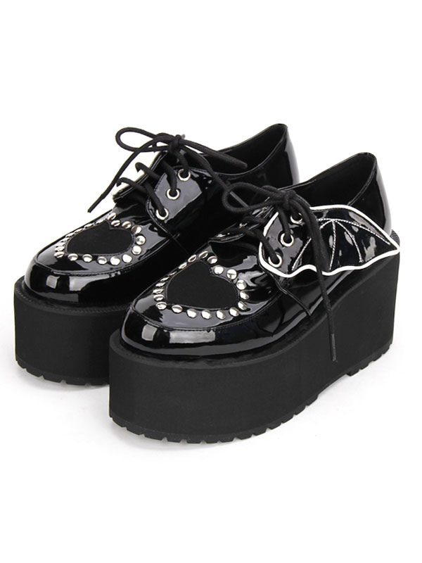 Buy Gothic Lolita Shoes Black Lace Up Platform Studded Gothic Lolita Footwear for $59.19 in Milanoo store