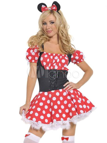 96d90a0dba1 Sexy Mickey Mouse Costume Disney Halloween Polka Dot Lace Up Skater Dress  For Women With Headgear ...