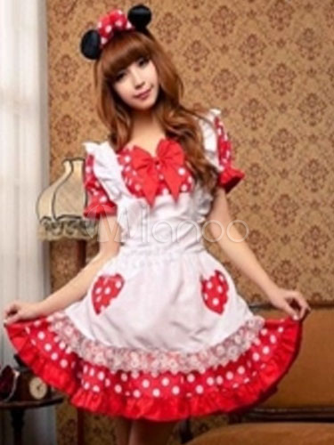 Sexy Mickey Mouse Costume Fancy Dress Halloween Polka Dot Bows