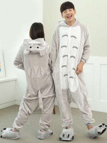 più foto 4eb3d 59565 Kigurumi pigiama Totoro Onesie flanella grigia animale coppia Costume  Carnevale
