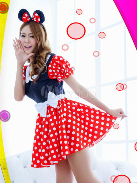 Halloween Sexy Costume Mickey Mouse Minne Puff Short Sleeve Polka