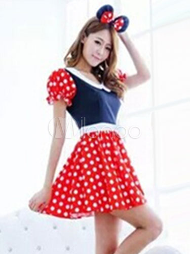 Halloween Sexy Costume Mickey Mouse Disney Women S Polka Dot Puff