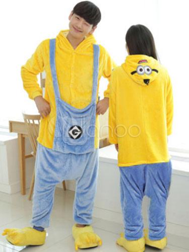 the latest 87272 f243b Kigurumi pigiama Minions tutina in flanella animale coppia Costume Outfits  In 3 pezzi Carnevale