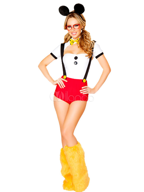 Halloween Sexy Mickey Mouse Costume Disney Women's Suspender Shorts Outfit With Headgear In 5 Piece Halloween