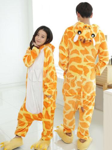 58ae65a58d Kigurumi Pajama Giraffe Onesie Flannel Animal Couple Costume Halloween-No.1  ...