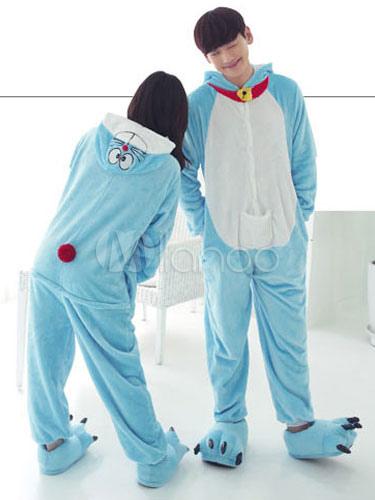 nuovo stile bcbc0 7b639 Kigurumi pigiama Doraemon Onesie flanella blu coppia animale Costume  Outfits In 2 pezzi