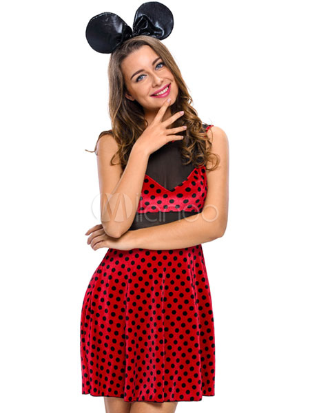 Sexy Mickey Mouse Minnie Costume Red Polka Dot Sleeveless Slim Fit
