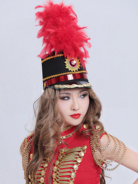 Jazz Dance Costume Hat Women S Feather Glitter Cap With