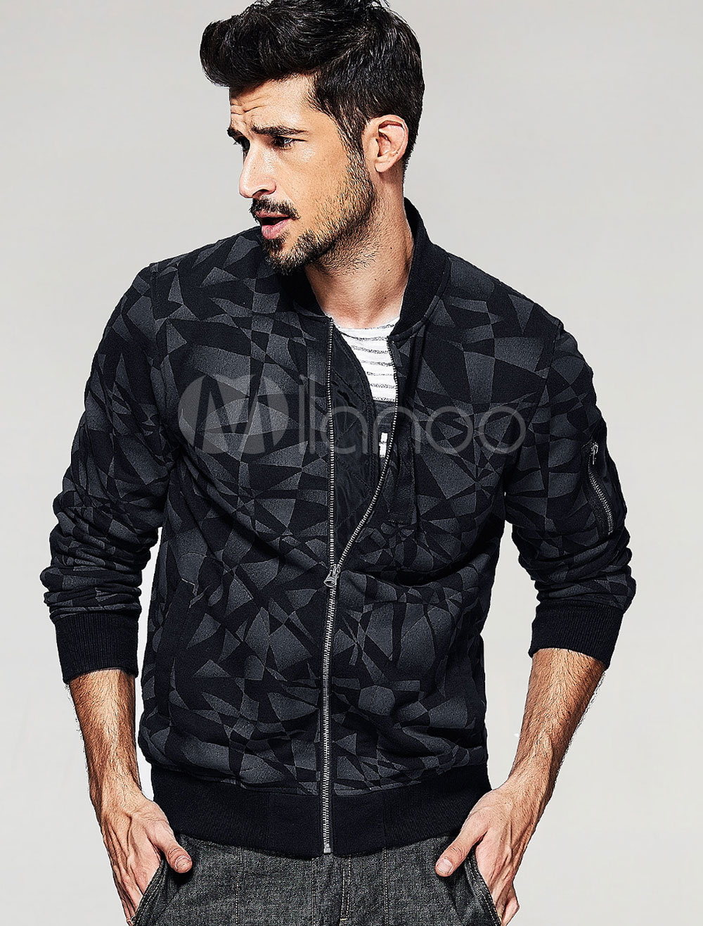 Buy Men's Black Jacket Cotton Geometric Long Sleeve Stand Collar Zipper Coat for $49.49 in Milanoo store