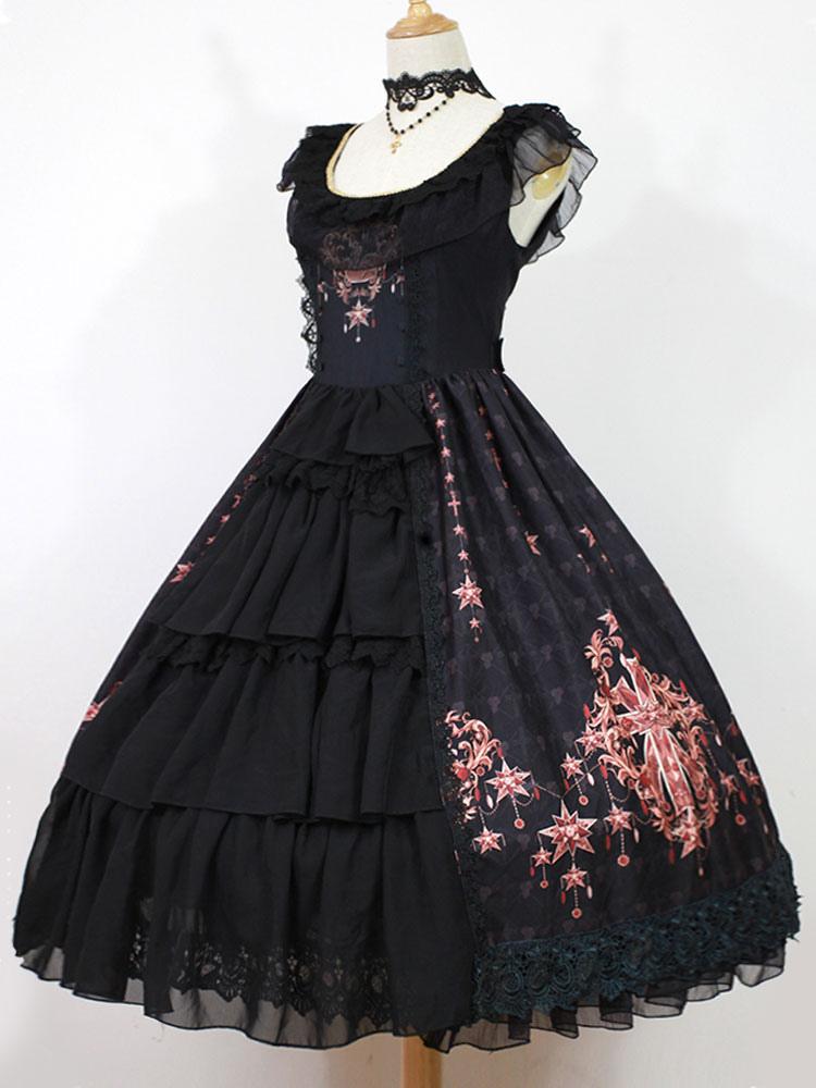 Gothic Lolita Dress Jsk Black Printed Layered Ruffle Slim